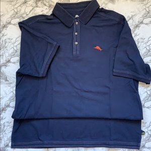 Tommy Bahama Pique polo in navy w/white stitching